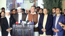 PTI Shah Mehmood Qureshi And Siraj ul haq Joint press conference In Mansoora Lahore 24february 2018
