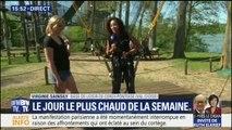 Notre journaliste .@vsainsily s'essaye au saut à l'élastique à l'envers à Cergy-Pontoise