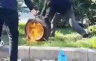 VÍDEO: el viejo truco de inflar la rueda con gasolina sale mal