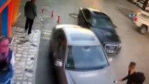 Aracın üzerine doğru geldiğini son anda fark etti...Ölümden kıl payı kurtuluş kamerada