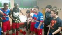 La fête dans les vestiaires après le derby EBNSP Inter loing EBNSP gagne au penalty 5--4