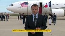 """Arrivée d'Emmanuel Macron aux États-Unis : """"Cette visite est très importante, en particulier dans le contexte avec beaucoup d'incertitudes, de troubles et parfois de menaces"""", déclare le président de la République"""