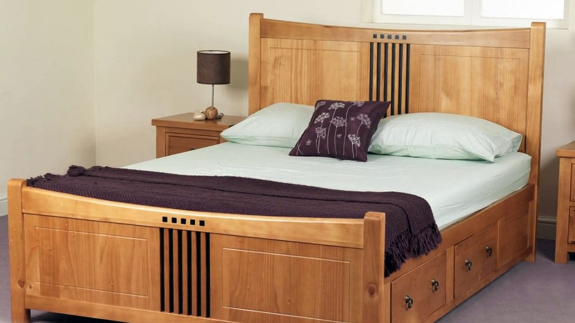 Picture of: King Size Wood Bed Frame With Storage Furniture Video Dailymotion