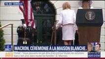 Le baisemain d'Emmanuel Macron à son épouse et Melania Trump à la fin de son discours