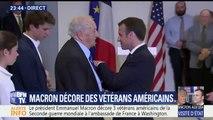 Emmanuel Macron décore trois vétérans américains de la Seconde guerre mondiale