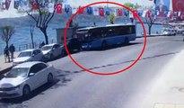Sarıyer'de kontrolden çıkan halk otobüsü dehşet saçtı