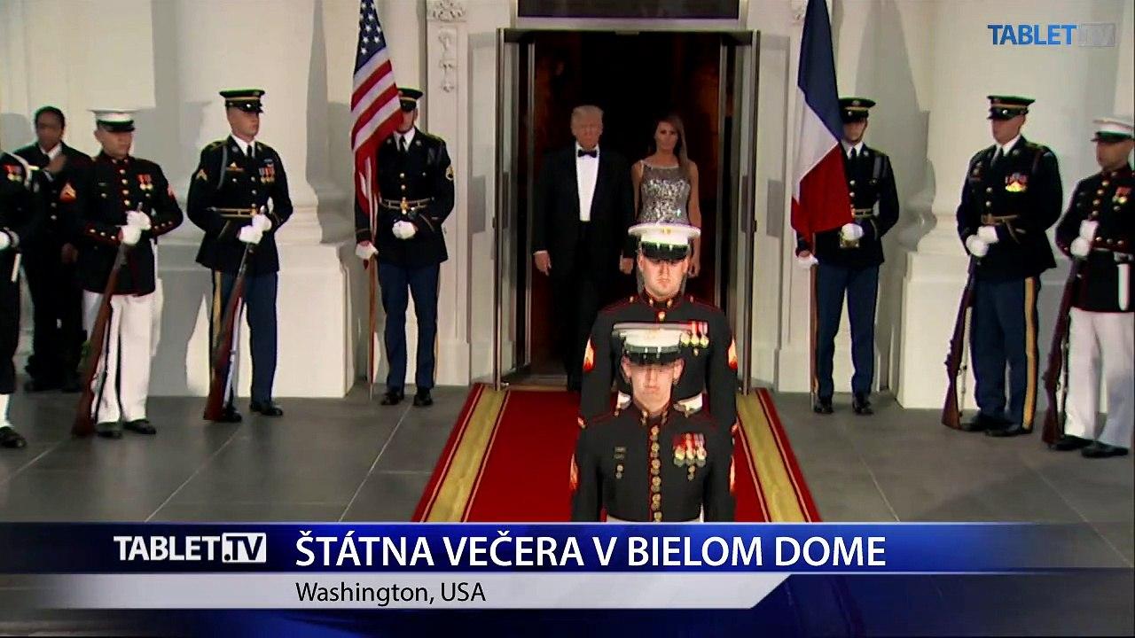 Trump privítal na večeri v Bielom dome Macrona a ďalších hostí