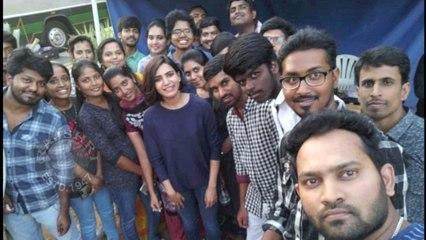 Actress Samantha Akkineni In Advance Birthday Celebrations With Fans