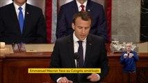 """""""L'Europe et les Etats-Unis doivent faire face ensemble aux défis mondiaux du 21e siècle"""", insiste Emmanuel Macron dans son discours face au Congrès américain."""
