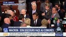 """Emmanuel Macron a attaqué Donald Trump sur """"tous les fondements"""" face au Congrès"""