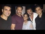 Salman Khan With Arbaaz Khan, Sohail Khan, Arpita Khan And Ayush At Arpita's Diwali Bash!!