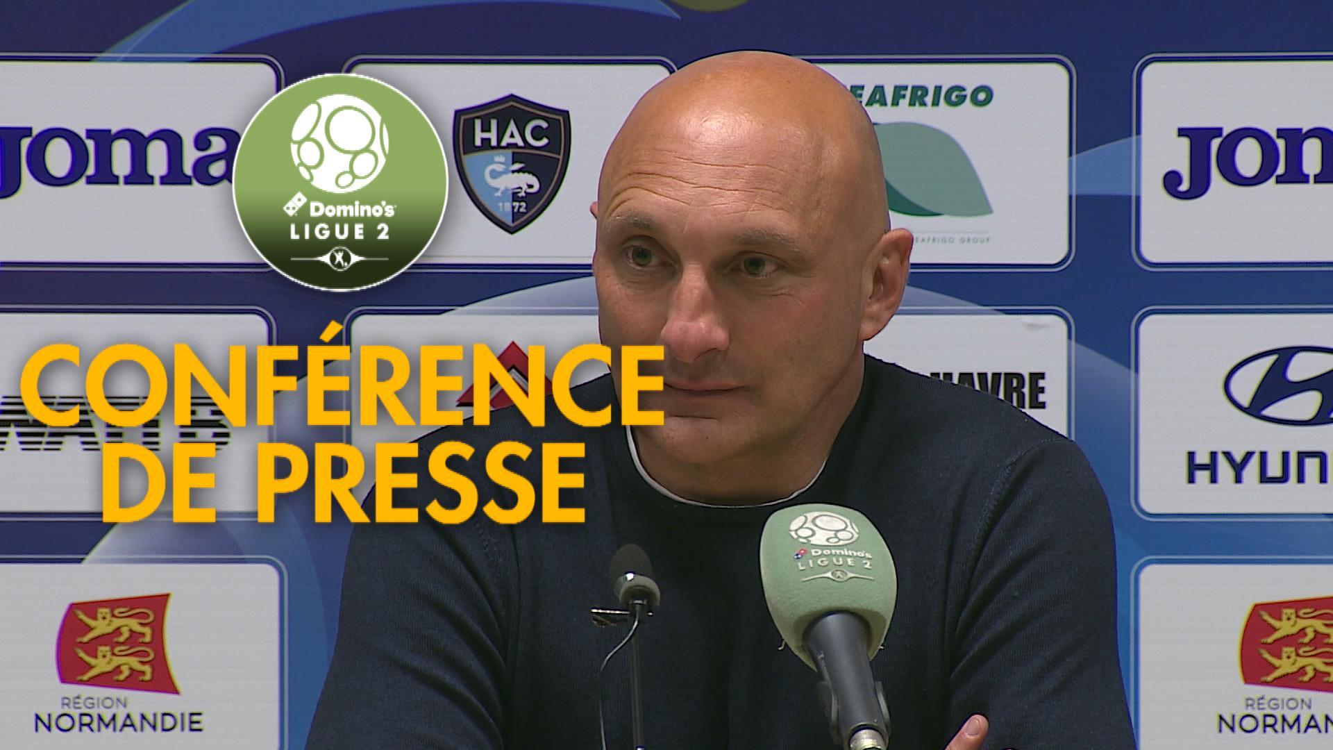 Conférence de presse Havre AC – AC Ajaccio (2-0) : Oswald TANCHOT (HAC) – Olivier PANTALONI (ACA) – 2017/2018