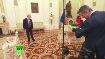 Putin jokes as his Japanese pet barks at Japanese journalists_ Yume is no-nonsense dog!