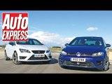 Volkswagen Golf R vs SEAT Leon Cupra on track