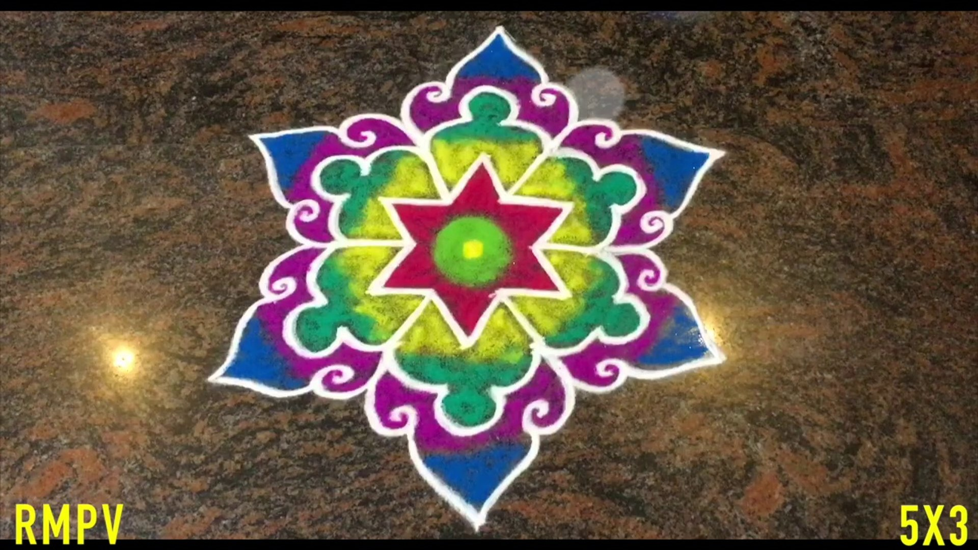 Simple Flower Rangoli Design With Colours And Dots 5x3 For Festivals Competitions Easy Kolam Simple Daily Rangoli For Pooja Room Latest Kolam With Colours Easy Rangoli Simple Rangoli