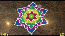 Simple Flower Rangoli Design with Colours and Dots 5x3 for Festivals & Competitions   Easy kolam Simple daily rangoli for pooja room   Latest kolam with colours   Easy rangoli simple rangoli