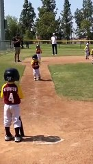 This kid is naughty in baseball running in slow motion!