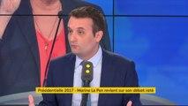"""""""Je pense que Marine Le Pen ne sera pas"""" présidente de la République, juge Florian Philippot. """"Elle n'en a pas la capacité, ça ne veut pas dire que je la considère comme stupide"""", poursuit le président des Patriotes #8h30politique"""