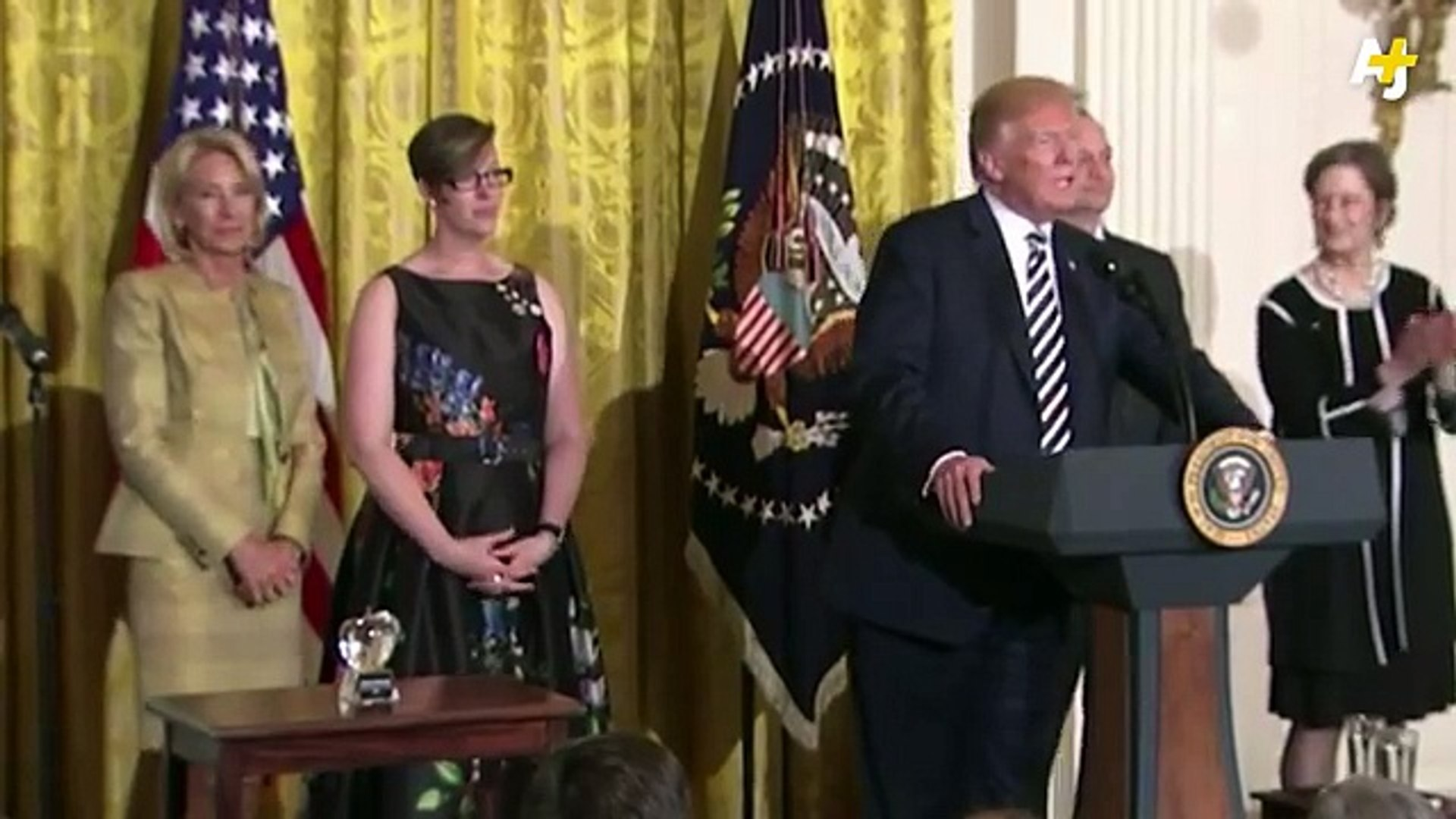 NOW: President Trump speaks at the National Teacher of the Year reception amid teacher strikes in se