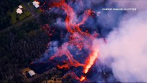 WATCH: Aerial footage of homes being hit by lava from the erupting Kilauea volcano in Hawaii. (Video: Reuters)