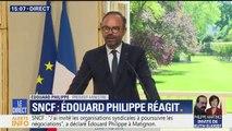 """SNCF : """"Le gouvernement ne reviendra pas sur les grands principes"""" de la réforme, annonce Philippe assumant sa """"fermeté"""""""