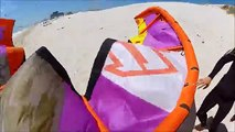 The death rolling kite. Kitesurfing Launch and looping kite out of control. Kite Crash