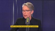 """""""À Air France, il y a eu un référendum sur un sujet salarial qui concernait les salariés d'Air France"""", la réforme de la SNCF """"concerne tous les Français et le vote se passe à l'Assemblée nationale et au Sénat"""", Élisabeth Borne, ministre des Transports"""