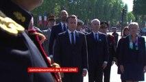 #8Mai Emmanuel Macron dépose une gerbe devant la statue du Général de Gaulle à Paris pour la cérémonie du 73e anniversaire de la victoire des Alliés sur l'Allemagne nazie et la fin de la Seconde Guerre mondiale en Europe