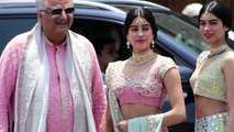Jhanvi Kapoor_ Khushi Kapoor_ Boney Kapoor Arrive At Sonam Kapoor Wedding