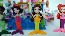 Princesas Disney Ariel Bella Tiana Branca de Neve transformam Sereia com playdoh
