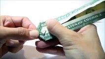 dollar origami dragon boat (instruction), money origami, $1 bill origami, dollar bill origami