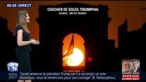 À Paris, cette image rare du coucher de soleil sous l'Arc de Triomphe