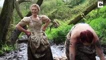 Course dans la boue en robe de mariée.. fête d'un divorce !