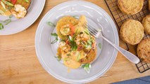 Rachael's Fried Green Tomatoes with Pimiento Cheese Sauce and Green Onion and Jalapeno Scampi