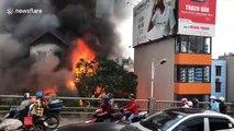 Moment petrol station explodes in massive fireball in Vietnam