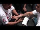 (TMT) LEONARD ELLERBE watches MARCOS MAIDANA Hand Wrap by ROBERT GARCIA training vs FLOYD MAYWEATHER
