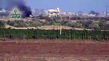 تدمير دبابة تابعة لقوات الأسد على جبهة الطيرة شرقي مدينة نوى بريف درعا الغربي الشمالي خلال الإشتباكات الدائرة صباح اليوم..