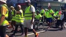 C'est l'arrivée de la 11ème étape à Saint Benoît du tour de l'île en fauteuil roulant accompagné par les tambours bénédictins de #Runhanditour avec un accueil d