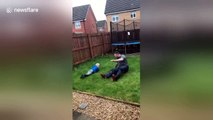 Hilarious moment UK dad slide tackles 4-year-old son