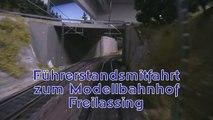 Bahnfahrt zum Bahnhof Freilassing auf der Schauanlage im Traumwerk Porsche - Ein Video von Pennula zum Thema Modelleisenbahnanlage und Modellbahnausstellung