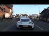 Aston Martin V12 Vantage Driving Accelerating Revving in Oxford, UK