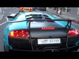 Turquoise Baby-Blue Lamborghini Murcielago LP670-4SV - Big Acceleration in London