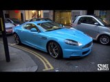 BABY BLUE Aston Martin DBS with QuickSilver Exhaust - Startup, Revs, Driving