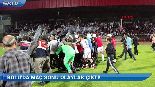 Bolu maç sonu sahada çirkin saldırı sonrası stadyumda olaylar