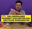 Gestern Bier und heute probiert dieser Amerikaner zum ersten Mal deutsche Süßigkeiten … *Süß!*