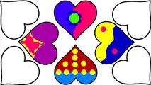 Boyama Ogreniyorum Renkli Kalp Boyama Sayfasi Oyun Hamuru Evi