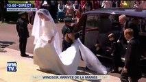 Mariage princier: première apparition de Meghan Markle avec sa robe de mariée