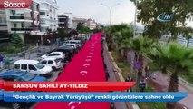 Samsun'da 1919 metrelik dev Türk bayrağı