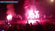 Le bus de l'Etoile Rouge de Belgrade prend feu !