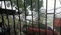 Fuerte lluvia con caída de granizo en la provincia de Colón como el sector de Puerto Pilón. @traficocpanama